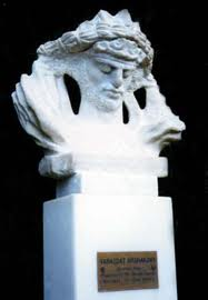 Marble bust of King Ardavazt by sculptor Levon Tokmajyan installed in Olympia, Greece, in 1998.