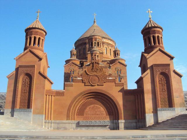 Outside of Abovian Church Armenia