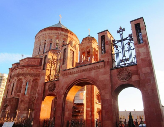 New Armenian cathedral in Moscow, Russia.