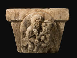 Capital with the high relief of mother and child, Dvin 5th 6th cc