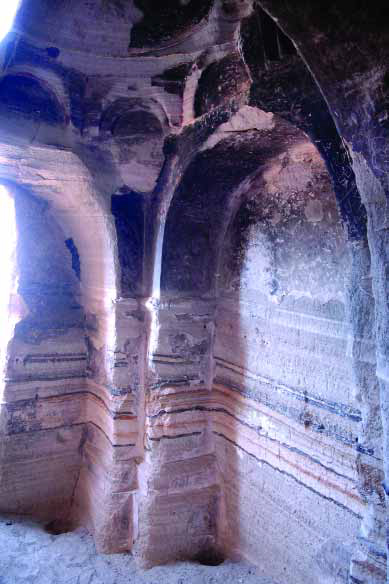 The concha of the south-western chapel of Tzarakar Monastery; its interior to the sanctuary (north); its north-western squinch and south-western wall pylon-3