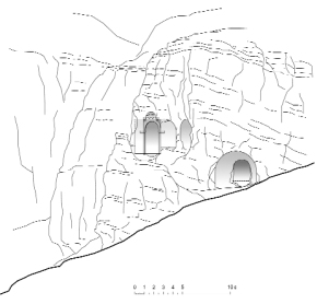 The plan of Tzarakar Monastery and the mountain facade overlooking the south ¥measurement and graphical design by architect Ashot Hakobian, 2010