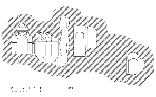 Tzarakar Monastery. A cross-section towards the north measurement by architect Ashot Hakobian, 2010