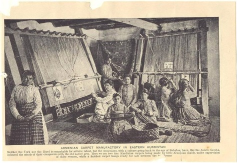 Armenian girls weaving carpets 1920