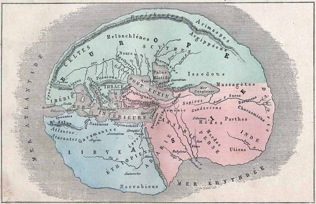 Antique world map according to Herodotus (484–425 BC) by L. Fig, Hachette, 1884