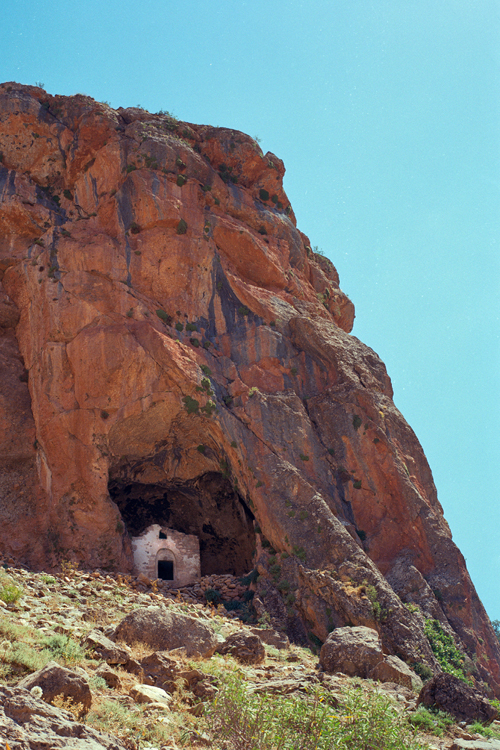 Entrance to the Monastery of the Holy Virgin Mary (5th Century) on a cliff overlooking the village of Kayadibi, near Shabin Karahisar (Arm. Koghonia, Koloneia), looking east.