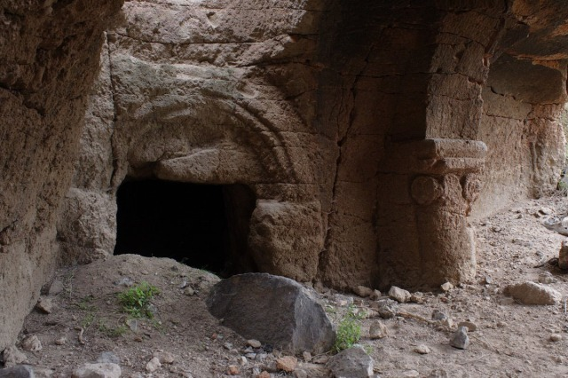 The entrance to a rock-cut church in the Gayledzor valley cave complex.