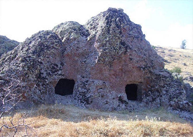 Two cave entries from the ancient settlement